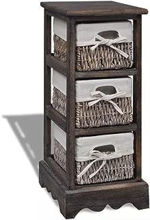 Doneioe Armoire en Bois avec 3 paniers en Osier Détaché Armoire de Bureau Armoire à tiroirs Cabinet Armoire de Toilette Ma...