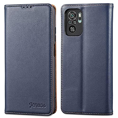 Jenuos für Xiaomi Redmi Note 10 Hülle Leder,Xiaomi Redmi Note 10S Handyhülle Klappbar Schutzhülle Flip Cover mit [Magnetic Closure] [Card Slot] [Kickstand] -Blau(MN10-PD-BE)