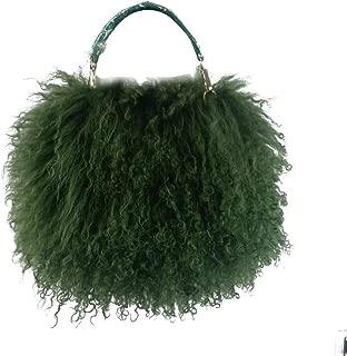ZAKIA Women's plush lambskin handbags feather clutch bag shoulder bag wallet chain