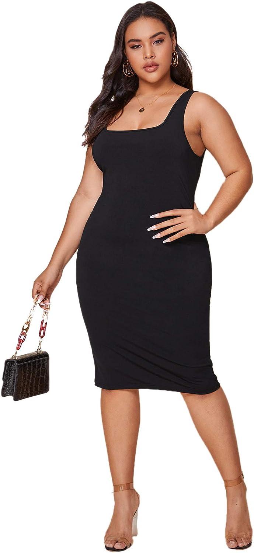 SheIn Women's Plus Sleeveless Square Neck Bodycon Pencil Solid Midi Tank Dress