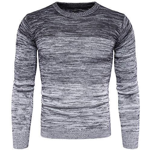 Lzcaure Jersey de punto para hombre de estilo clásico grueso de punto de cable con diseño casual, grueso y cálido, para invierno, de punto, cuello redondo, manga larga (color gris, talla: M)