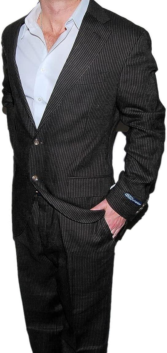 Ralph Lauren Polo Italy Wool Mens Suit Blazer Brown Pinstripe 42R $1,595