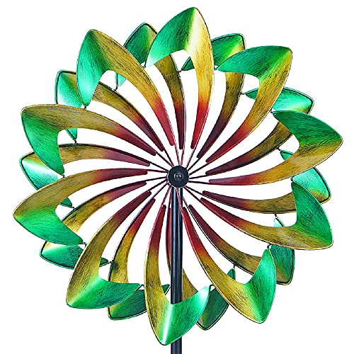CYzpf Wind Spinner Rainbow 213cm(84in) Single Blade Easy Spinning Kinetic Creativity Metal Ornaments for Outdoor Yard Lawn Garden