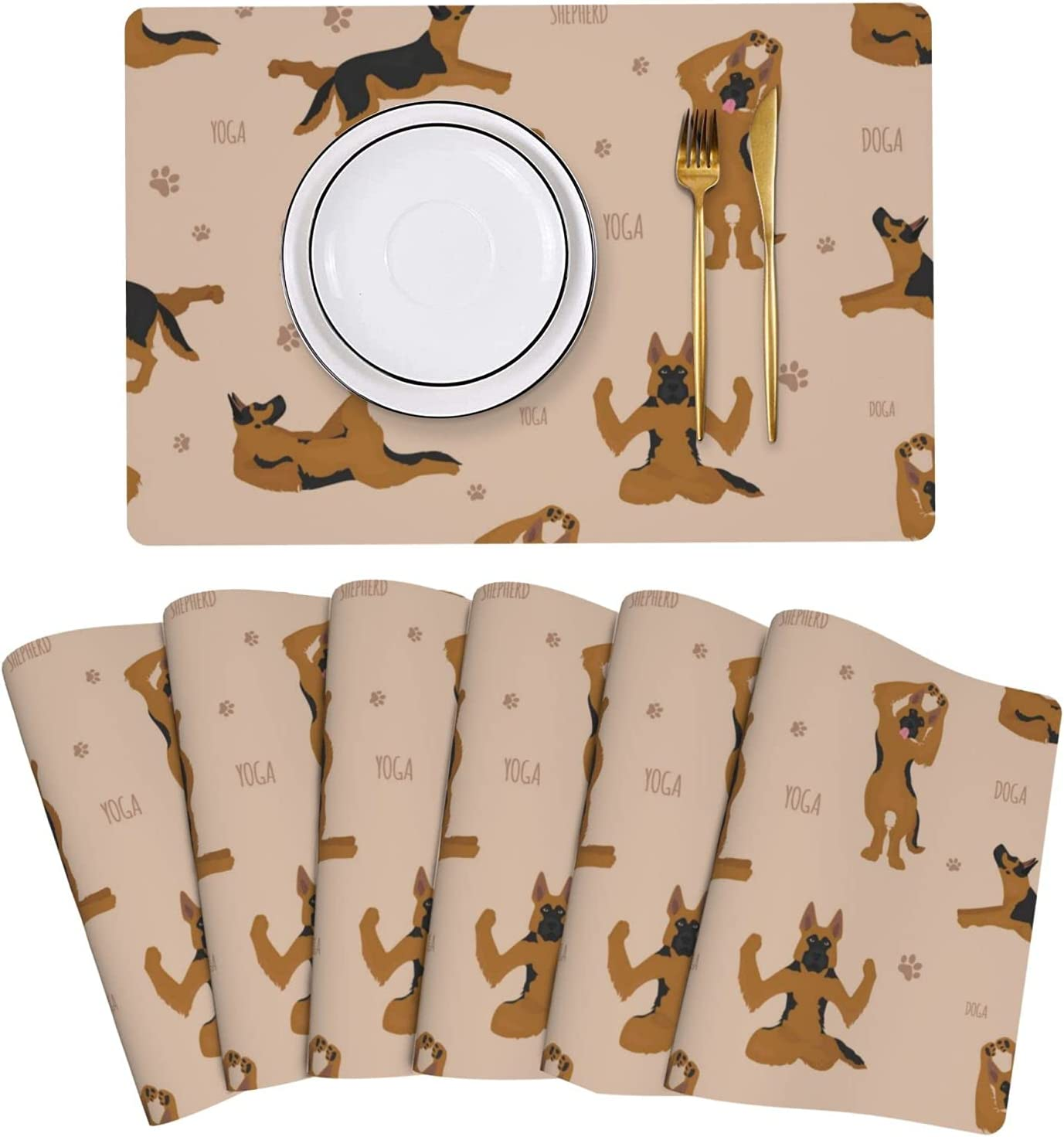 German Shepherd Yoga Poses low-pricing Placemat Leather 6 Mats Set Shipping included of Table