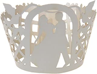 ROSENICE Wedding Cake Cup Cupcake Wrapper Laser Cut Bride Groom Muffin 50pcs (White)