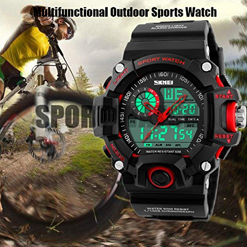 TONSHEN Men's Digital Sport Watch Outdoor Electronic Multifunction Waterproof Quartz Analogue Display LED Back Light 164FT 50M Water Resistant Alarm Multiple Time Stopwatch Military Wristwatch - Red