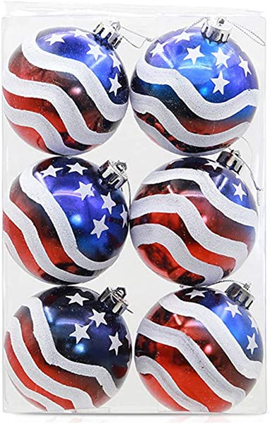 Geeparton 3 15 Patriotic Ball Ornaments Set Of 6 Large Christmas Tree Balls American Flag Decorations For Independence Day Christmas Party Decoration