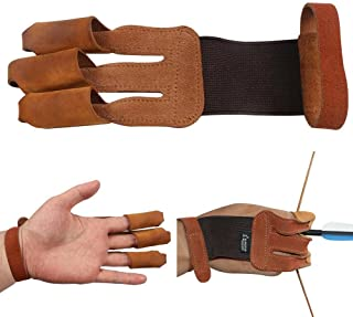 Toparchery Finger Hand Protective Gloves Leather Target Arm Guard 3 Finger Tab for Hunting Compound Recurve Bow