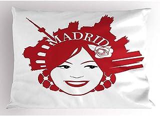 4 Piezas 18X18 Pulgadas Funda De Almohada De Madrid,Mujer Sonriente Con Peine Con Los Monumentos De Madrid Cultura Española Europea,Decoración Del Hogar Funda De Almohada Impresa Tamaño Queen Estándar