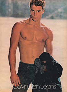 CALVIN KLEIN JEANS AD 1980 BRUCE WEBER PHOTO Vintage Full-Page Magazine Advertisement SHIRTLESS MALE MODEL