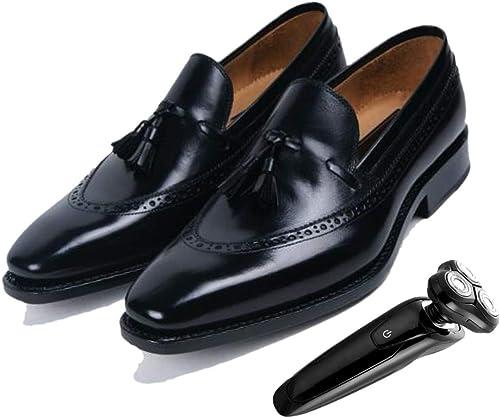 Puntiagudos Tallados zapatos Brogue Bajos para Hombre Inglaterra negro Sin Cierre Parte Inferior Blanda Caballero