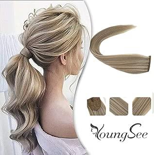 Youngsee 16inch Hair Extensions Ponytail Warp Around Dark Honey Blonde with Golden Blonde Human Hair Ponytail Extensions 80g