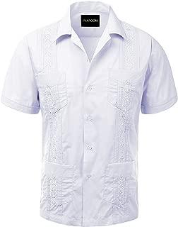 Platoon Guayabera Short Sleeve Mens Cuban Shirt Wedding Cigar Beach Bartender