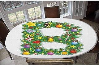 Housse de table en polyester élastique avec motif sapin de Noël et imprimé B - Pour tables jusqu'à 121,9 x 172,7 cm