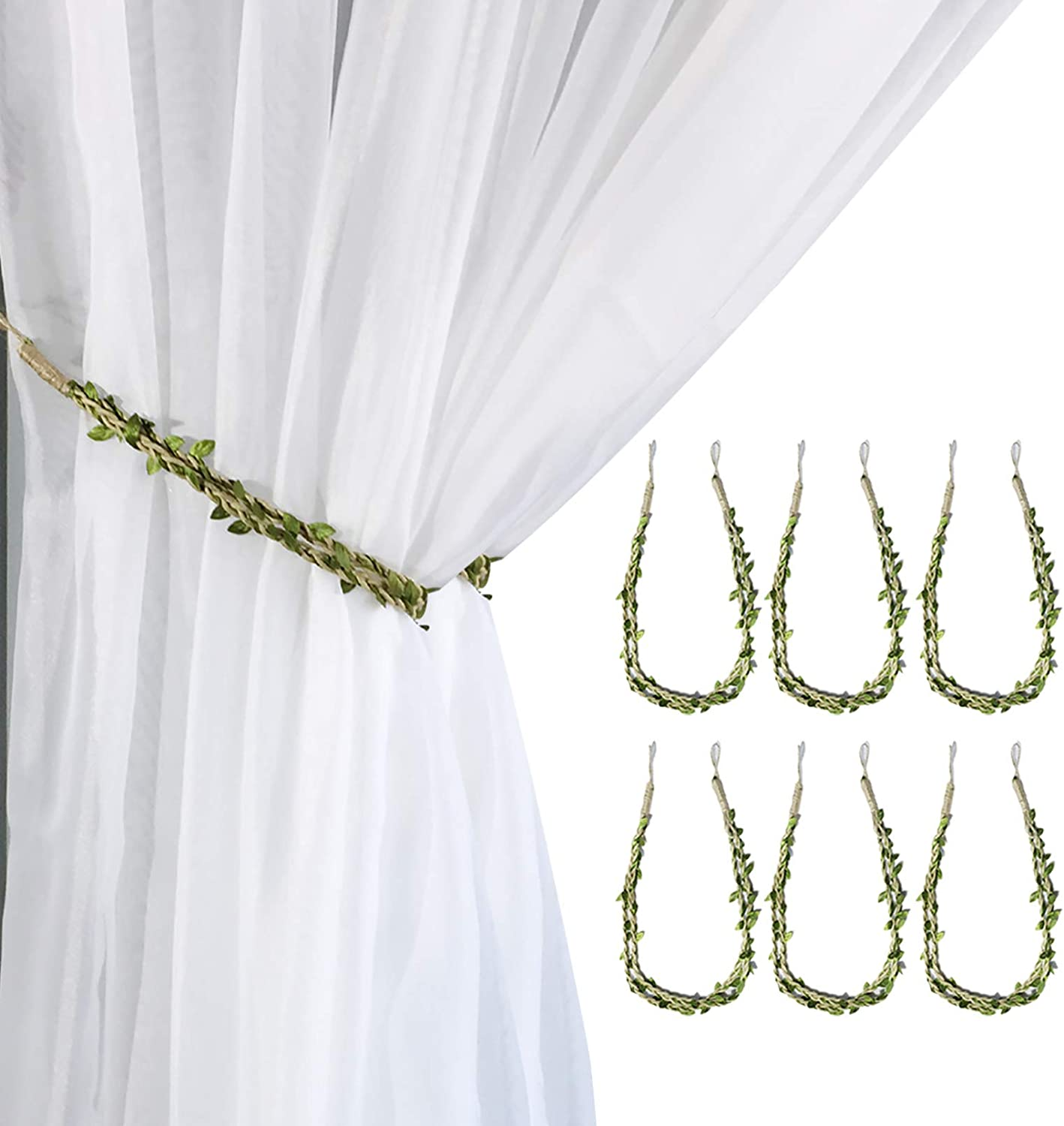Valea Home Curtain Tiebacks Ropes Natural Burlap Rope Holdbacks with Artificial Vines Fake Foliage Ivy Leaf for Rustic Wedding Party Home Decorative Curtain Holders, Set of 6