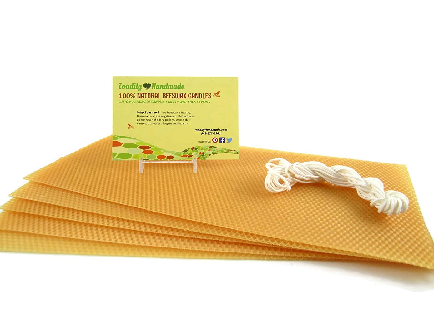 Make Your Own Beeswax Candle Starter Kit - Includes 5 Full Size 100% Beeswax Honeycomb Sheets in Gold and Approx. 6 Yards of Cotton Wick. Each Beeswax Sheet Measures Approx. 8