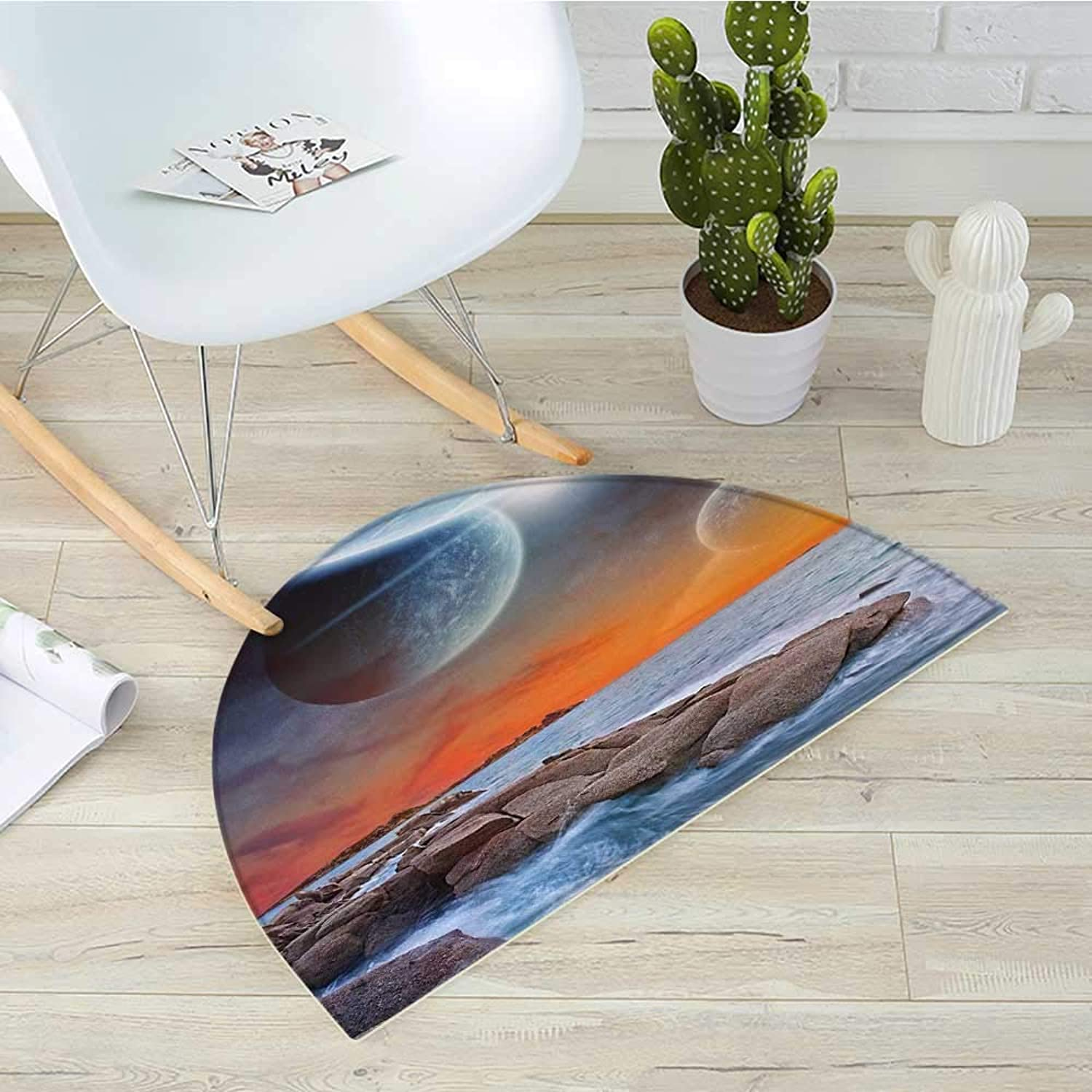 Galaxy Semicircular CushionPlanet Landscape View from A Beautiful Rocky Beach Ocean Science Room Decor Entry Door Mat H 39.3  xD 59  bluee orange Umber