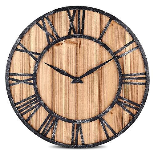 LCSD Reloj de pared continental de hierro retro, reloj de pared para sala de estar, silencioso, creativo de madera de abeto redondo, diámetro de 40 cm