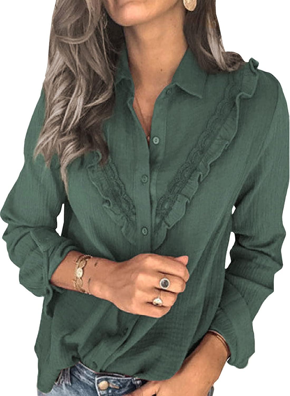 AZOKOE Women Elastic Ruffle Button Down Blouses Casual Long Sleeve Loose Shirt Tops