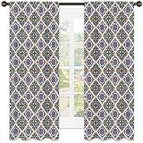 Tenda geometrica termoisolante, Azulejo Tile Art con elementi floreali e strisce geometriche schema di colori, per soggiorno o camera da letto, 172 x 172 cm, multicolore