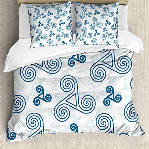 ABAKUHAUS Niebiesko-biały zestaw pościeli do łóżek dwuosobowych, triskel sztuka celtycka, miękki materiał z mikrofibry nie blaknie, niebieski