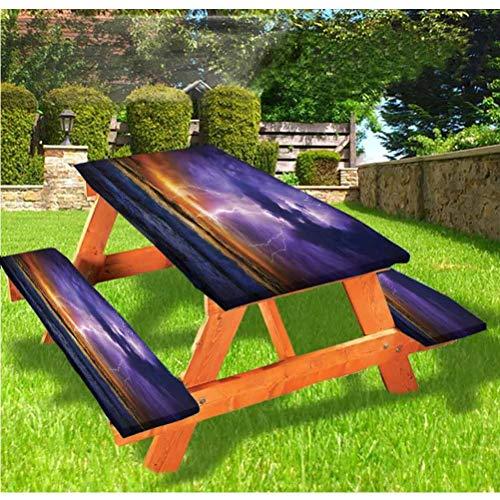 LEWIS FRANKLIN - Mantel ajustable para mesa y banco, diseño de épico Thunder Atmosphere con borde elástico, 28 x 172 pulgadas, juego de 3 piezas para mesa plegable