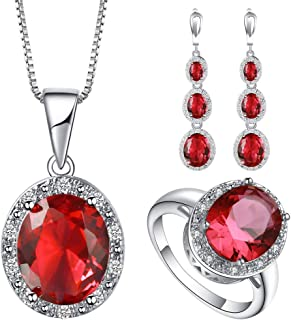 VPbao Cubic Zirconia Oval Crystal Chain Necklace Earrings Ring Jewellery Sets Red