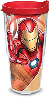Tervis 1319344 Marvel - Iron Man Iconic Insulated Travel Tumbler with Wrap and Red Lid, 24oz - Tritan, Clear