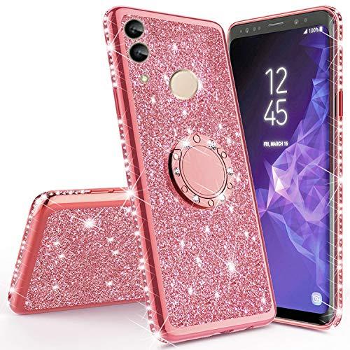 Miagon Bling Coque pour Huawei Honor 10 Lite,Brillant Paillette Strass 360 Degré Diamant Supporter Très Mince Souple Silicone Bumper Housse Etui de Protection pour Huawei Honor 10 Lite/P Smart 2019