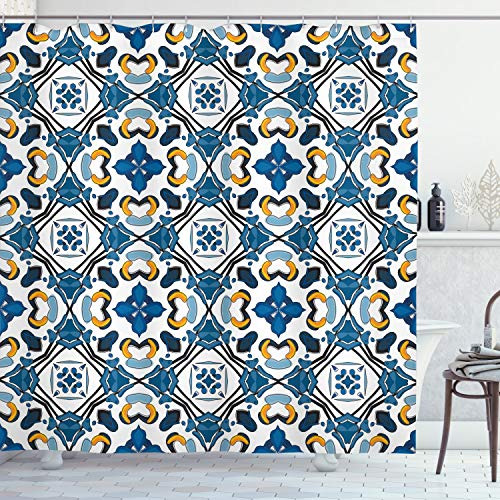 ABAKUHAUS traditionell Duschvorhang, Portugiesisches Fliesenwerk, mit 12 Ringe Set Wasserdicht Stielvoll Modern Farbfest & Schimmel Resistent, 175x240 cm, Königsblau