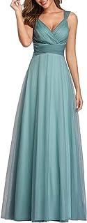 Ever-Pretty Vestito da Cerimonia Donna Linea ad A Scollo a V Tulle Senza Maniche Stile Impero Lungo 07905