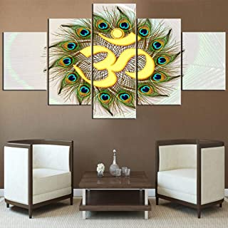5 Piece Canvas Wall Art Hindu Om Symbol Pictures Hinduism Aum Sanskrit Paintings for Living Room Premium Quality Artwork HD Prints House Decorations Giclee Framed Stretched Ready to Hang(60''Wx32''H)