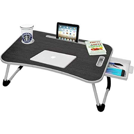 Callas Multipurpose Foldable Laptop Table with Cup Holder   Drawer   Mac Holder   Table Holder Study Table, Breakfast Table, Foldable and Portable/Ergonomic & Rounded Edges/Non-Slip Legs (WA-27-Black)