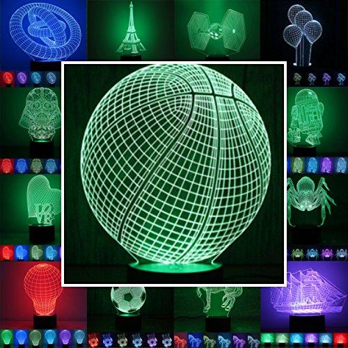 3D Lampe 3D Leuchte 3D LED Stimmungslicht. 7 Farben - Auswahl aus 81 verschiedenen Motiven,hier Basketball ca.21x17cm inkl.Sockel - 3D Illusion Dekolicht mit USB Anschluß und 220V USB Netzteil