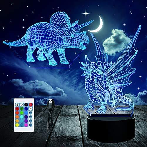 3D Lámpara, lampara de ilusion óptica Dinosaurio 16 colores con control remoto, Decoracion led Visual Luz de noche para niños Cumpleaños Regalos (2PC Paneles Acrílicos)