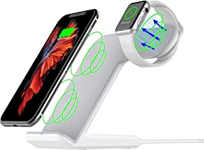 Maxjoy Wireless Charger Compatible iWatch, 2 in 1 Wireless Charger Stand, Qi Fast Wireless Charger Dock Compatible for iWatch iPhone Xs/X /8 Samsung Galaxy S9/S9+/S8/S8+/S7/Note 8 Note 5, White