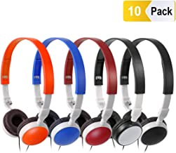 Bulk Headphones Classroom Kids Headsets - Keewonda 10 Pack Students School Multi Color Headphones in Bulk KW-X10 Foldable Earbuds for Computer Lab Library Hospital MuseumsTesting Centers Hotels