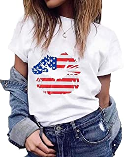 Suncolor8 Women Loose Fit UAS Flag Print Cotton Crew Neck Lip-Print Casual Top Blouse T-Shirt