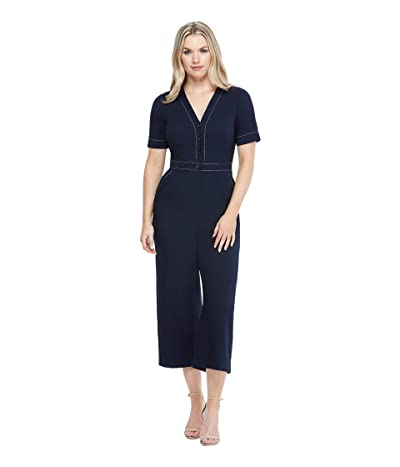 Maggy London Cropped Topstitch Jumpsuit (Navy) Women
