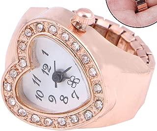 WGY Mädchen Rosa Legierung Tasche Fingerring Uhr Strass Runde Zifferblatt Uhr Kupfer Ton Für Dame Uhren Schmuck