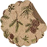 C&F Home Woodland Retreat Quilted Reversible Cotton Placemats Round Table Mat Pinecone Decor Cabin Rustic Lodge Brown Green Round Placemat Set of 6 Tan
