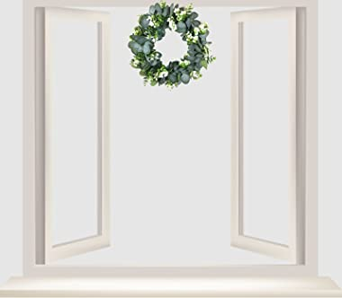12.99in Artificial Eucalyptus Green Leaf Wreath Spring Summer Outdoor Ornament Wreath for Front Door Wall Window Farmhouse Pa