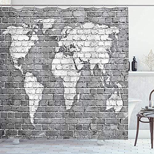 ASDAH Wanderlust douchegordijn wereldkaart op oude bakstenen muur constructie Grunge antieke gekleurd Abstract doek stof badkamer Decor Set met haken grijs wit 66 * 72in