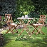 Juego de sillas y mesa de jardín o patio bistró, de madera maciza, plegable, Planta...