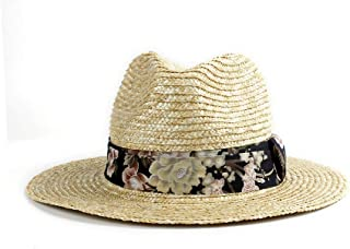 LiWen Zheng 2019 Ladies Straw Hat Dough Cloth Black Beach Hat UV Protection Panama Hat Jazz Hat Sun Hat