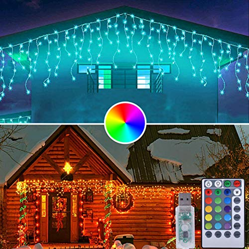 LED Christmas Icicle Lights Outdoor, 20 ft 100 LED Color Changing String Lights with USB Plug in and Remote Control, 16 Color 4 Lighting Modes, Christmas Decorations for Patio, Yard, Garden Decor