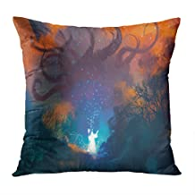 Wesbin Throw Pillow Cover Magician Summoning Ghostly Demonsorcerer Casts Spell New Living Hidden Zipper Home Sofa Decorative Cushion 18x18 Inch Square Design Print