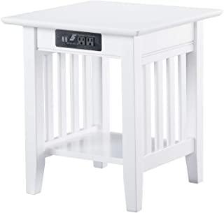 Atlantic Furniture Mission End Table with Charging Station, White