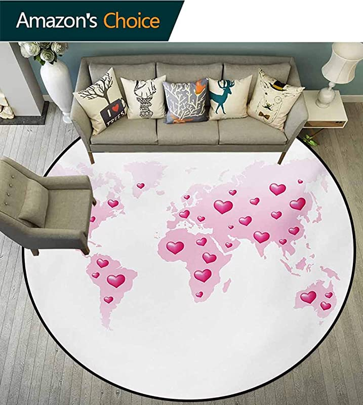 RUGSMAT Princess Modern Washable Round Bath Mat Global Peace Theme World Map Dotted With Hearts Love Planet Earth Non Slip Bathroom Soft Floor Mat Home Decor Diameter 35 Inch Baby Pink White Fuchsia