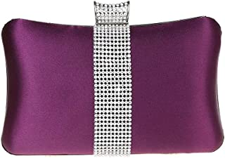 DA BODAN Fashion Womens Jane Satin Diamante Clutch Rhinestone Evening Bridal Prom Party Handbag Crossbody Purse Chain Bag